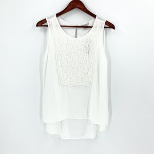 nwt | Ariat White Lace Front Hi Lo Tank Top